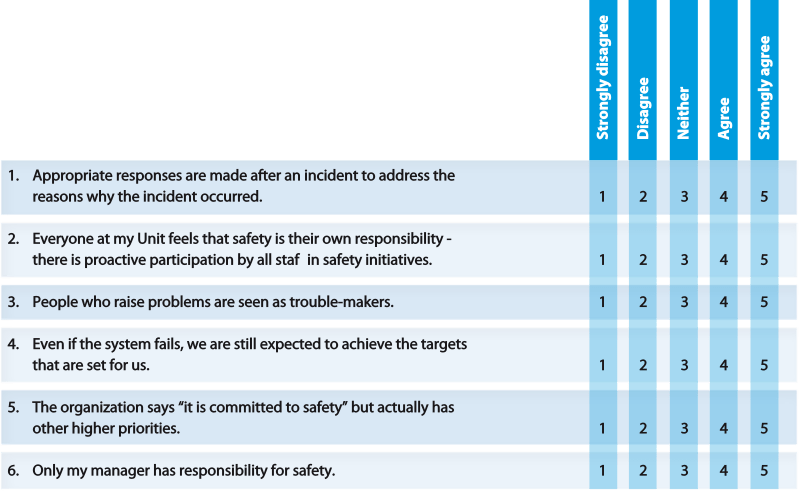 Sample questions from Eurocontrol safety culture questionnaire